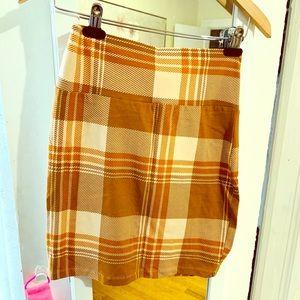 Tan plaid mini pencil skirt